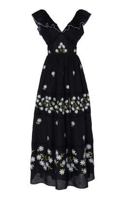 Gül Hürgel Embroidered Linen Open-Back Tiered Maxi Dress Size: S