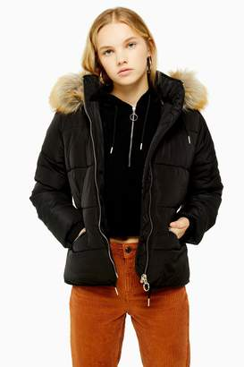 Topshop TALL Faux Fur Hooded Puffer Jacket
