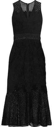 Jonathan Simkhai Crochet Knit-Paneled Corded Lace Midi Dress