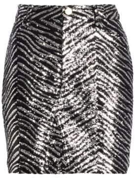 Alexandre Vauthier Women's Zebra-Print Sequin Mini Skirt - Silver - Size 40 (8)
