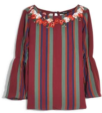 Madewell Embroidered Pleat Sleeve Top