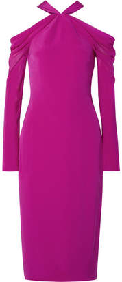 Cushnie et Ochs Cold-shoulder Silk Crepe De Chine Midi Dress - Fuchsia
