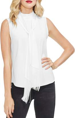 Vince Camuto Fringed Tie Neck Sleeveless Top