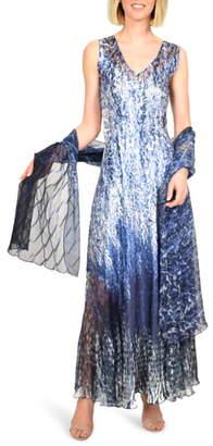 Komarov Charmeuse Maxi Dress with Wrap