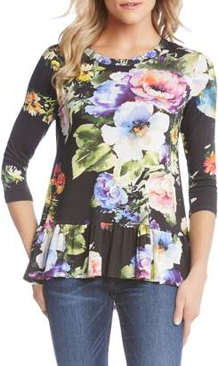 Karen Kane Floral Ruffle Hem Top