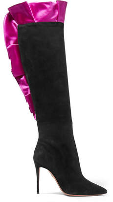 Aquazzura Eiffel 105 Satin-trimmed Suede Over-the-knee Boots - Black