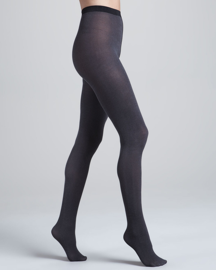 Wolford Gent Herringbone Tights, Beluga/Black