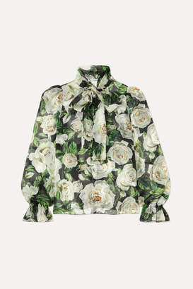 Dolce & Gabbana Pussy-bow Floral-print Silk-organza Blouse - Green