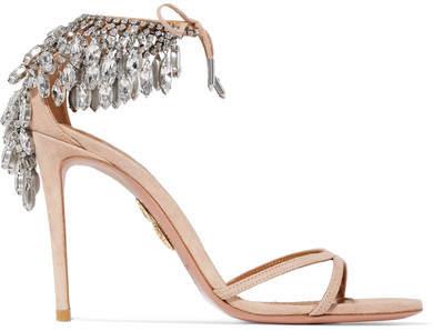 Aquazzura - Eden Crystal-embellished Suede Sandals - Blush