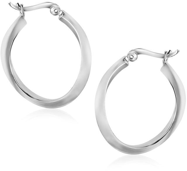 Ice Sterling Silver Twist Design Oval Shape Hoop Earrings