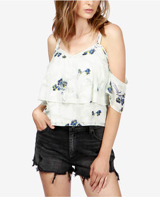 Lucky Brand Floral-Print Cold-Shoulder Top