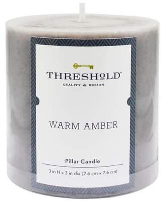 Threshold Mottled Pillar Candle Warm Amber