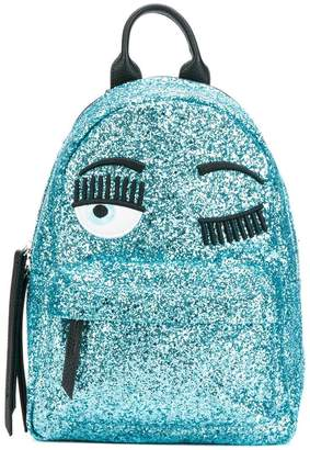 Chiara Ferragni wink embroidered glitter backpack