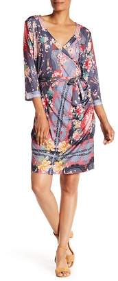 Johnny Was Patterned Faux Wrap Dress