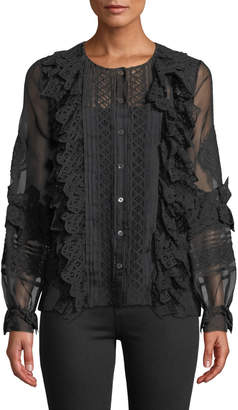 Oscar de la Renta Lace-Trim Balloon-Sleeve Silk Shirt, Black