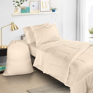 BEIGE Clara Clark Twin XL Bed In A Bag 6pcs Bedding - Comforter Set, Cream, - College School Dorm bedroom Value Essential Bundle, Includes Flat and Fitted Sheets, Pillowcase, Pillow Sham and Laundry Bag