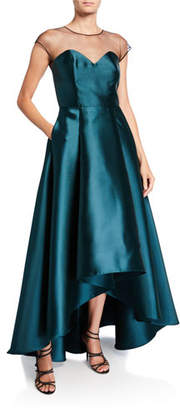 Sachin + Babi Kerri Cap-Sleeve High-Low Illusion Gown with Pockets