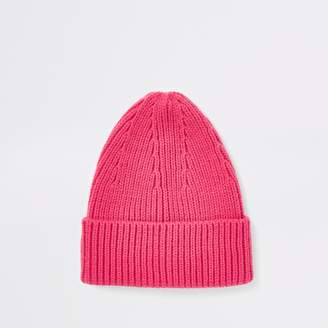 River Island Mens Pink fisherman knit beanie hat