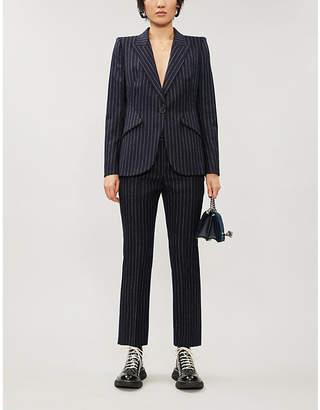 Alexander McQueen Striped tailored-fit peak-lapels wool blazer