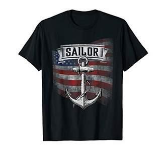 Mens Sailor Boat Anchor Boating USA American Flag T-Shirt