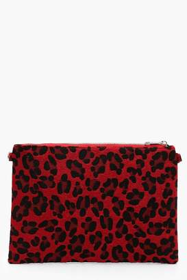boohoo Coloured Leopard Ziptop Clutch With Chain