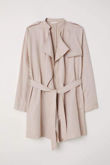 H&M - Short Lyocell Trenchcoat - Beige