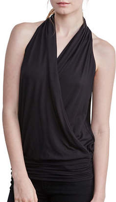 Amour Vert Halter Wrap Tank with Fitted Hem
