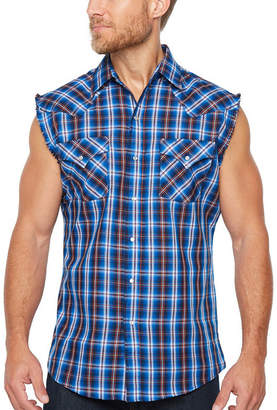 Ely Cattleman Sleeveless Plaid Snap-Front Shirt
