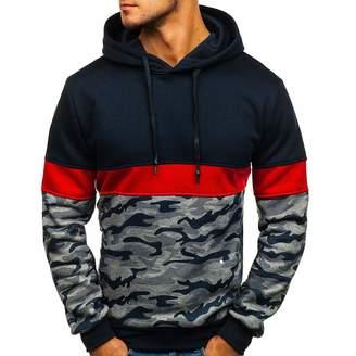 fe819d57 AmyDong Men Tops Men's Hooded Pullover Sweatshirt,AmyDong Long Sleeve  Camouflage Print Splice Button Sweater