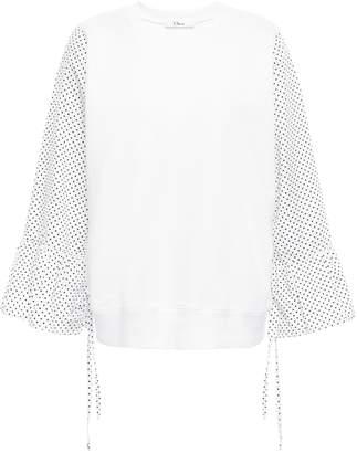 Clu Paneled Cotton-jersey And Poplin Top