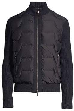 Corneliani Knit Sleeve Quilted Bomber Jacket