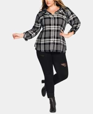 City Chic Trendy Plus Size Plaid Shirt