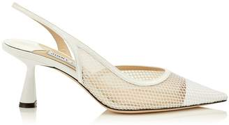 Jimmy Choo FETTO 65 Latte Patent Mesh Pointed Toe Pump