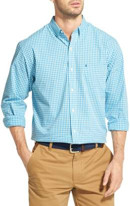 Izod Long Sleeve Button-Down Gingham Check Shirt