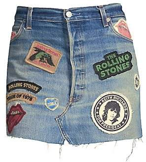 MadeWorn Women's Rolling Stones Denim Mini Skirt