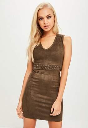 Missguided Khaki Lace Up Waist Faux Suede Dress