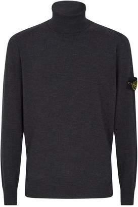 Stone Island Logo Patch Turtleneck Sweater