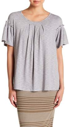Max Studio Front Pleat Flutter Sleeve Tee