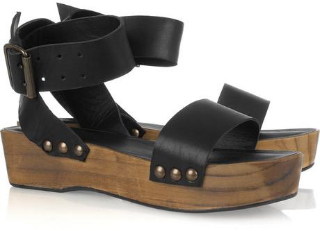 Minimarket Leather and wood platform sandals