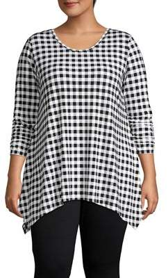 Context Plus Gingham Ruched-Sleeve Tunic