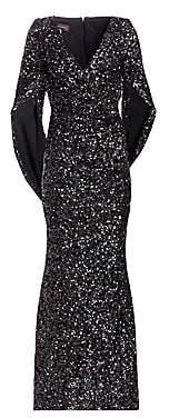 Talbot Runhof Women's Sequin Cape Gown