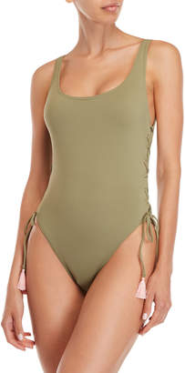 Vince Camuto Lace-Up One-Piece Swimsuit