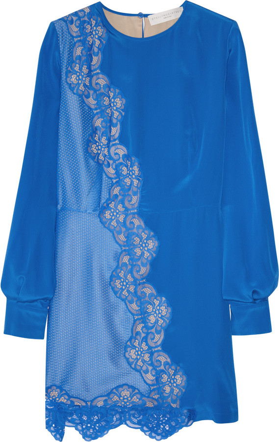 Stella McCartney Joan silk crepe-de-chine and lace dress