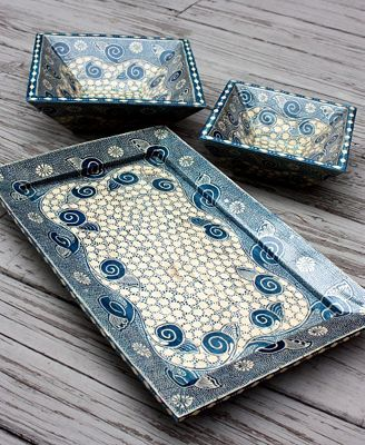CLOSEOUT! Indonesia Wooden Serving Tray, Galaxy Pattern