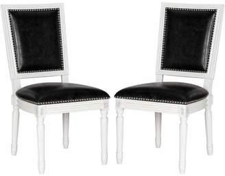 Safavieh Buchanan Bicast Leather Rectangular Side Chair, Black, Set of 2