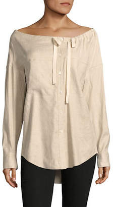 Theory Magena Off-Shoulder Linen-Blend Shirt