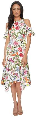 Maggy London Botanical Bloom Cold Shoulder Fit Flare Women's Dress