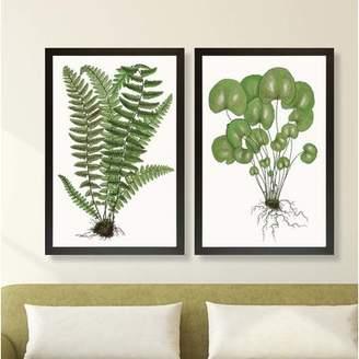 Gracie Oaks 'Lively Fern Leaves' 2 Piece Framed Graphic Art Print Set