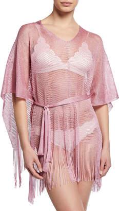 Missoni Fringe Bottom Woven Coverup, Pink