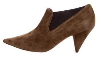 Celine Suede Pointed-Toe Booties